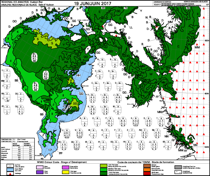 Hudson Bay weekly ice stage of development 2017 June 19